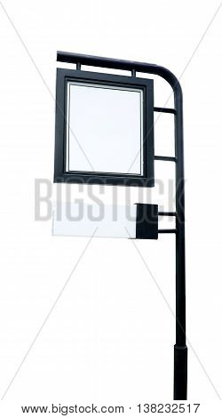 Shop Signage Made With Black Steel Isolated On White Background,template Mock Up For Adding Your Con