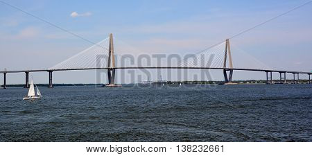 CHARLESTON SC USA JUNE 26 2916: Arthur Ravenel Jr. Bridge is a cable-stayed bridge over the Cooper River in South Carolina, connecting downtown Charleston to Mount Pleasant.