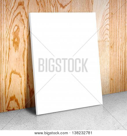 Blank White Poster Frame At Concrete Floor And Wooden Wall, Canvas Frame Template Mock Up For Adding