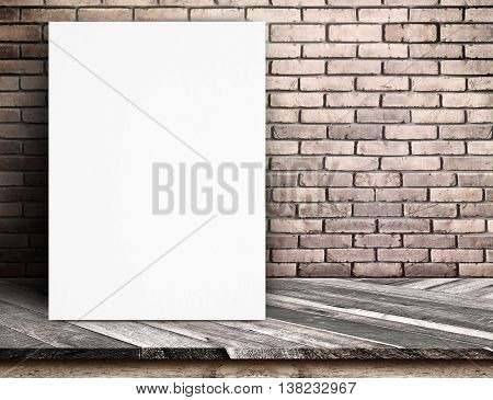 Black White Paper Poster Lean At Red Brick Wall And Tropical Wood Table,template Mock Up For Adding