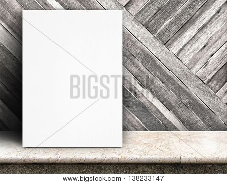 Black White Paper Poster Lean At Tropical Wood Wall And Marble Table,template Mock Up For Adding You