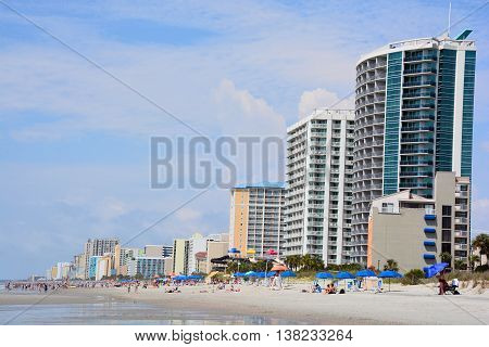MYRTLE BEACH SOUTH CAROLINA JUNE 29 2016: Myrtle Beach is a coastal city on the east coast center of a large and continuous stretch of beach known as the Grand Strand in northeastern South Carolina.
