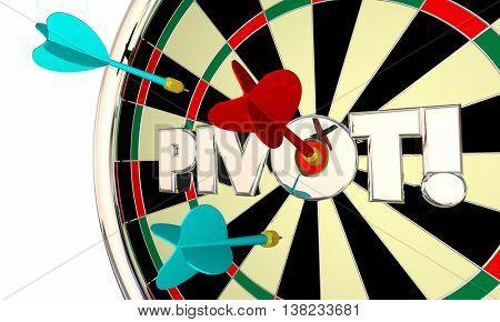 Pivot Dart Board Change Shift Business Model 3d Illustration