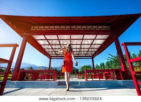 Tourist With Camera In Japanese Pagoda