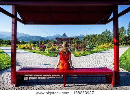 Tourist In Japanese Garden