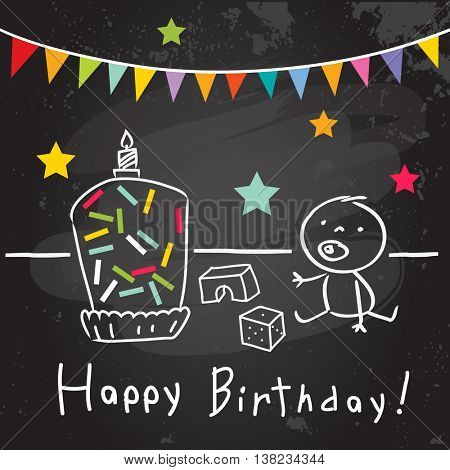 Happy birthday baby greeting card, party invitation. Colorful confetti, doodle, line art drawing.
