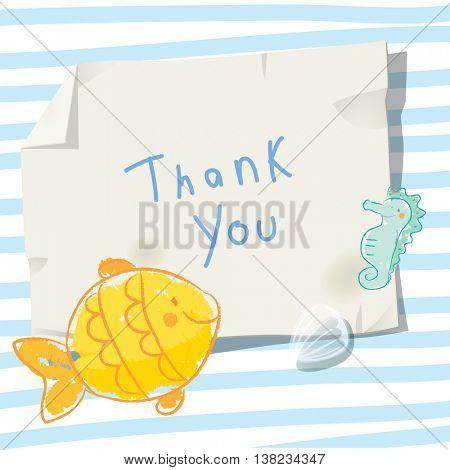 Under the sea, underwater, marine life. Vector cartoon thank you card illustration.