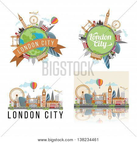 set of London city background, cute london city illustration