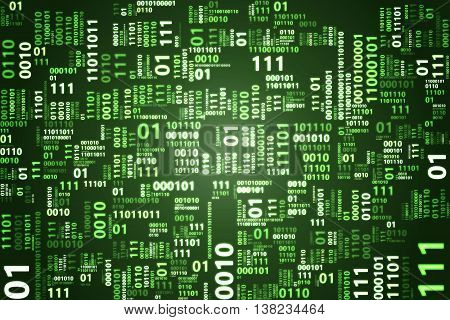 Dark green binary code illustration. Binary code background.