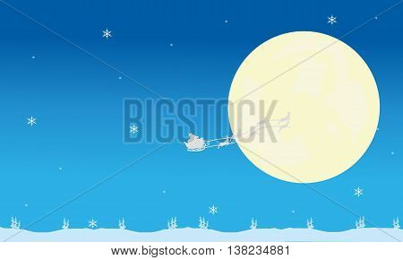 Silhouette of santa sleigh and full moon christmas backgrounds
