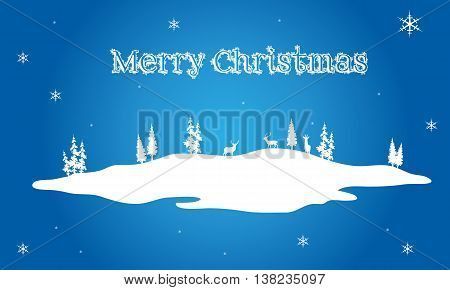 Christmas scenery on blue backgrounds vector illustration