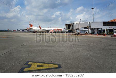Lion Air Airplane Parked At Soekarno-hatta International Airport
