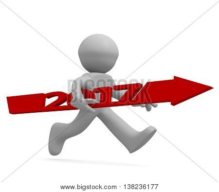 Upswing concept with a character holding a red arrow of 2017 3d rendering