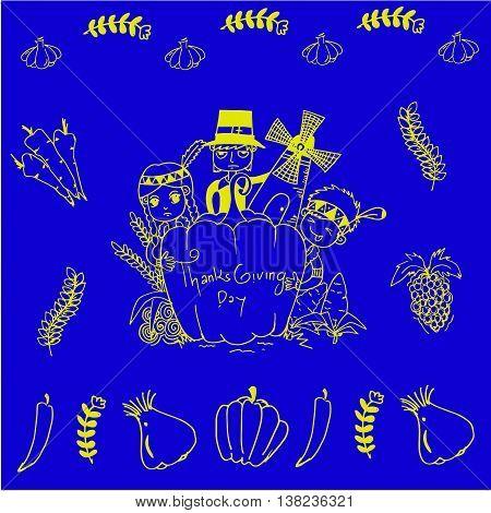 On blue backgrounds thanksgiving doodle art illustration