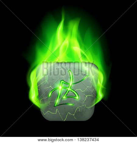 Ancient quadrangular stone with magic rune in green flame