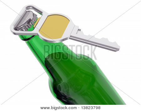 Green Beer Bottle With Opener