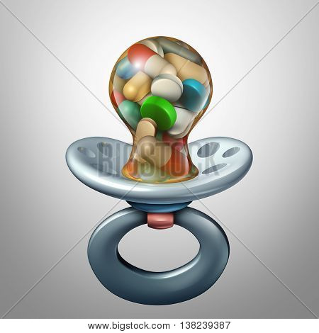 Baby medicine medical concept as a pacifier with pills and medication inside as a dosage or prescription issues for newborn or young individuals as a 3D illustration.
