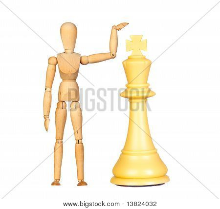 Wooden Dummy With Chess Piece