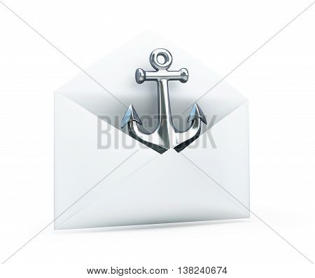 anchored in an open letter 3d Illustrations on a white background