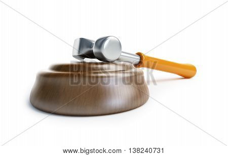 law gavel claw hammer 3d Illustrations on a white background