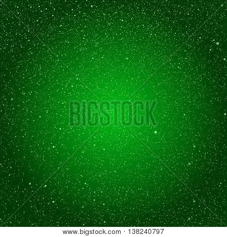 Vector background with snowflakes. Green ice storm.