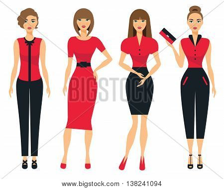 Set of business clothes for women. Woman in office clothes. Flat Vector Illustration.