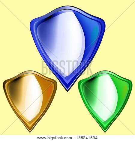 Shield Icon. Set of colored metal bulk shields gold green blue. Vector illustration.