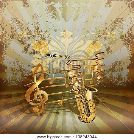 Vector illustration of music background realistic saxophone woven by golden musical notes.