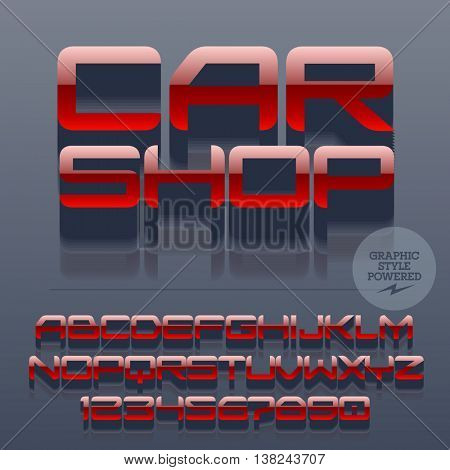 Set of glossy metallic alphabet letters, numbers and punctuation symbols. Vector reflective  emblem with text Car shop. File contains graphic styles