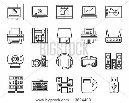 input, output and storage of information. electronic and analog devices. basic set of linear icons