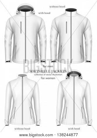 Set of women's and men's softshell jackets. Fully editable handmade mesh. Vector illustration.