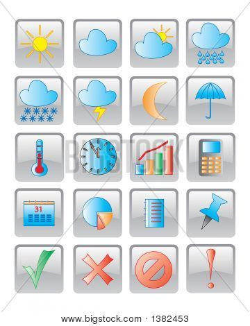 The Web Icon. Vector Image. 20 Buttom.