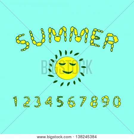 Floral summer font. Red and yellow colors of the font the Arabic numerals. Vector illustration.