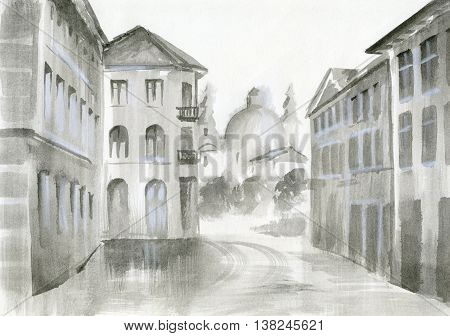 watercolor painting - view on a beautiful building cozy streetarchitecture