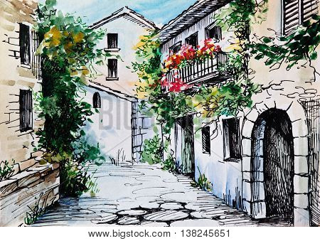 Oil Painting watercolor - flowers along the street artwork; impressionism; design