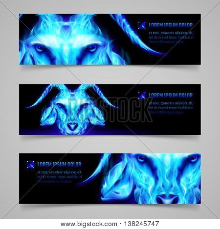 Set of banners with goat head in blue flame. Symbol of the year 2015