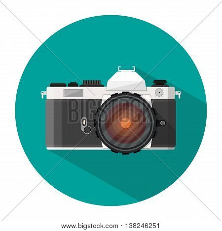 retro photo camera icon with long shadow. vector illustration in flat style isolated on white