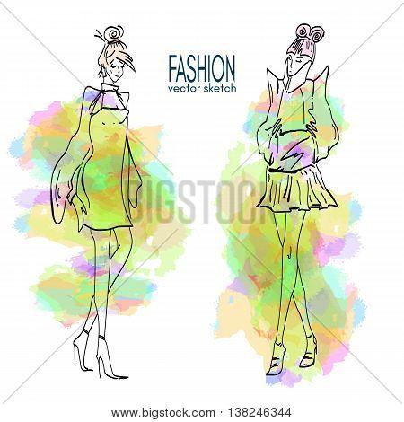 Fashion models. Sketch hand drawn vector Fashion models vector set fashion woman set