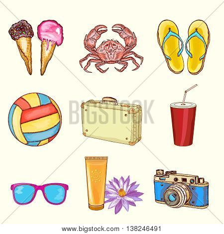 Summer beach set summer vacation objects hand drawn vector