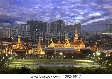 Temple of the Emerald Buddha (Wat Phra Kaew) and Sanam Luang in front of. - The historic center of Bangkok Thailand.