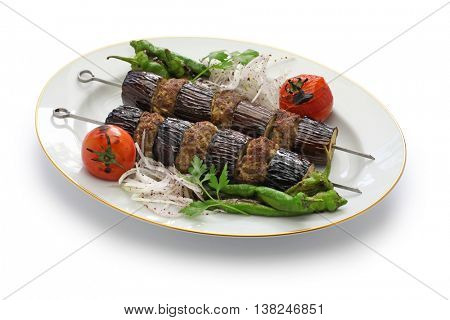 eggplant kebab, patlican kebab, Turkish cuisine isolated on white background