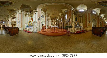 CLUJ-NAPOCA, ROMANIA - December 12: 360 panorama of the Franciscan Church's interior on December 12th, 2014, in Cluj-Napoca, Transylvania, Romania.