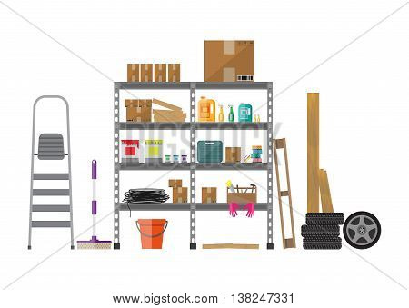 Interior of storeroom with metal shelves, storage, boxes, stair, wheels, cleaning accessories isolated on white. flat style