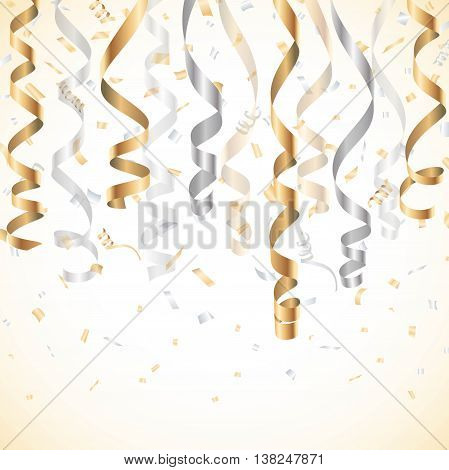 Gold and silver streamer with confetti background