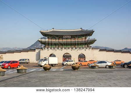 SEOUL SOUTH KOREA - OCTOBER 3 2014 : Front gate of Gyeongbokgung palace the largest palace and famous landmark of Seoul South Korea.