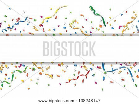 Celebration background with colorful confetti and streamer