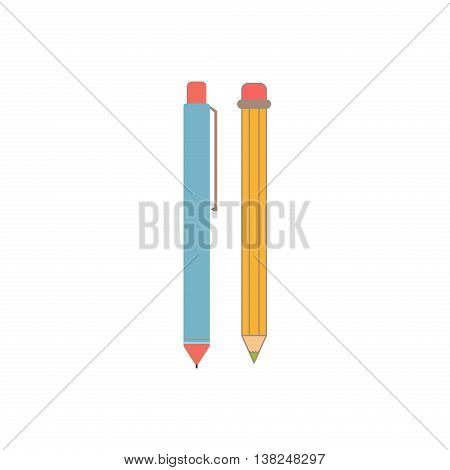 Set of pens and pencils isolated on white background. Education school design pen and pencil outline icons. Art equipment write concept isolated pen and pencil creativity draw vector sign.