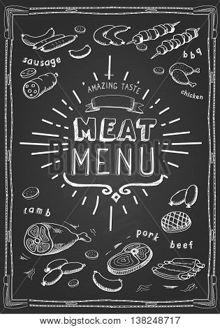 Retro meat menu icons on chalkboard with lamb chops sausage wieners pork ham