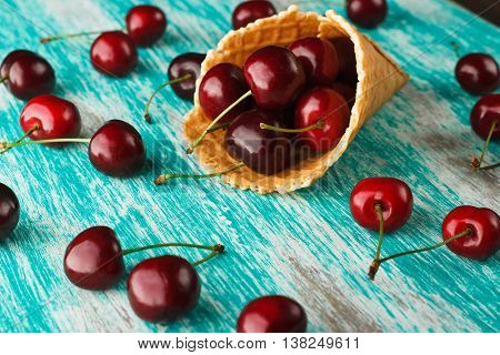Waffle Cup With Cherries Inside