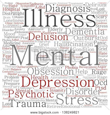 Vector concept conceptual mental illness disorder management or therapy square word cloud isolated on background